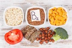 包含维生素B2、自然矿物和纤维,健康营养的滋补成份 库存图片