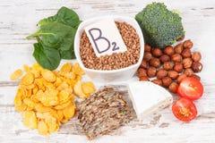 包含维生素B2、自然矿物和纤维,健康营养的滋补成份 免版税库存照片