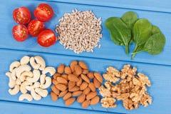 包含维生素B7和饮食纤维,健康营养的滋补产品 库存照片