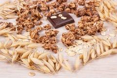 包含铁和纤维,健康快餐概念的燕麦、剥落、格兰诺拉麦片和巧克力的耳朵 免版税图库摄影