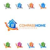 包围在家,房地产传染媒介与独特的家的商标设计 免版税库存图片