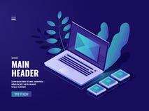 包围在屏幕上膝上型计算机,反馈概念,传入的消息,通知电子邮件,邮件服务器室,在网上 皇族释放例证
