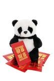 包围幸运的货币熊猫软的玩具 免版税库存图片