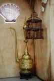 包括东方灯和鸟笼,东部动机的装饰集合 免版税库存照片