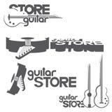 包括吉他的四个不同图象有题字`吉他的例证存放` 免版税库存照片