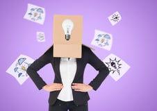 包括她的面孔的女实业家的概念性图象用纸板箱 免版税库存照片