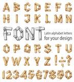 包括拉丁字母和数字的字体 免版税图库摄影