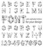 包括拉丁字母和数字的字体 免版税库存图片