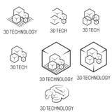 包括文本` 3D技术`的几个图象例证 库存照片