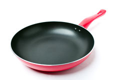 包括油煎不粘锅的平底锅红色聚四氟乙烯 库存照片