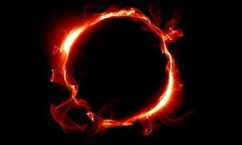 包括烟的红色圆环 不可思议的事 幻想 免版税库存照片