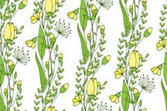 包括花和芽的一个无缝的春天样式 不尽的墙纸 免版税图库摄影