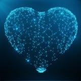 包括蓝色小点和线的多角形抽象心脏概念 数字式例证 多角形结构,三角 免版税库存图片