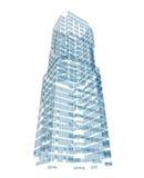 包括蓝色飞机的抽象摩天大楼 库存图片