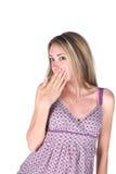 包括逗人喜爱青少年她的嘴 图库摄影