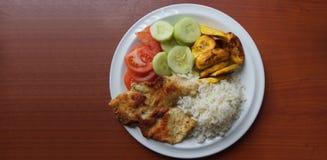 包括鸡的自创午餐喘气了用白米、油煎的香蕉、在一块白色板材和黄瓜供食的蕃茄切片 库存图片