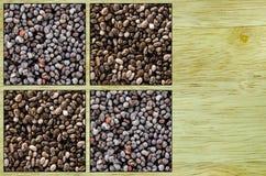 包括鸦片和chia种子的拼贴画 库存照片