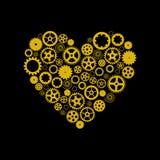 包括齿轮的心脏 金黄在黑背景 向量 库存图片
