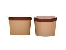 包装与夹子的布朗空白的短的木盆食物塑胶容器 免版税库存照片