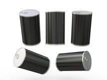 包装与拉扯选项,裁减路线的黑空白的标签锡罐 免版税库存图片
