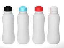 包装与盖帽集合,裁减路线inclu的空白的塑料瓶 图库摄影