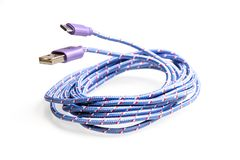 包装和装饰的蓝色缆绳USB弓 免版税库存图片