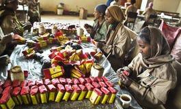 包装在埃塞俄比亚的茶 库存照片