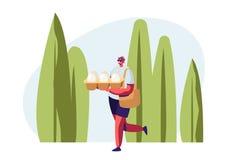 包装在夏令时风景背景的手上的微笑的男性角色运载的鸡蛋 环境污染的问题 库存例证