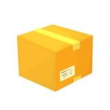 包装容器传染媒介例证,与处理包装文本贴纸,计算机条码,闭合的小包的纸板箱组装 免版税库存照片