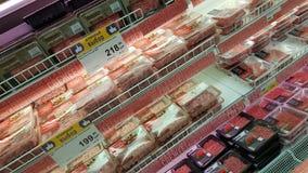 包装用肉末在超级市场 免版税库存图片