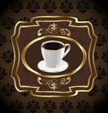 包装的咖啡的,咖啡杯葡萄酒标签 库存照片