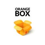 包装空的纸板,在动画片样式的开放箱子象 免版税图库摄影