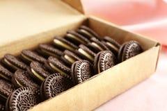 包装箱子用轻的表面上的可口巧克力曲奇饼 免版税库存照片