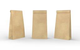包装纸在与裁减路线的白色隔绝的午餐袋子 库存图片