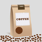 包装纸食物工艺咖啡袋子包裹  现实传染媒介大模型模板 传染媒介成套设计 免版税图库摄影