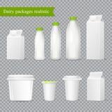 包装透明集合的现实牛奶店 向量例证