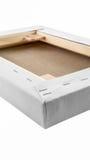 画廊包裹了在木制框架细节-担架的空白的帆布 库存图片