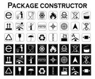 包裹建设者 包装的标志 象集合 库存图片