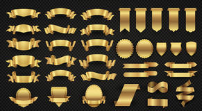 包裹金横幅丝带,典雅的金黄设计元素 库存例证