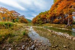 包围大卵石扔石头的Frio河的秋叶 免版税图库摄影