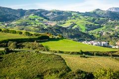 包围Zarautz,一个镇的山在巴斯克地区,西班牙 免版税库存图片