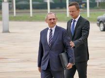 匈牙利、山多尔品特和外长匈牙利,彼得Szijjarto内部的大臣  免版税库存图片