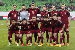 匈牙利与荷兰 俄罗斯友好的足球比赛 库存图片