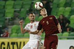 匈牙利与荷兰 俄罗斯友好的足球比赛 库存照片
