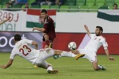 匈牙利与荷兰 俄罗斯友好的足球比赛 免版税库存图片