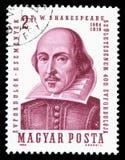 匈牙利取消了显示威廉・莎士比亚的画象图象邮票 免版税库存照片