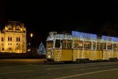 匈牙利圣诞节电车 免版税库存照片