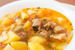 匈牙利墩牛肉(gulyas)汤 免版税库存图片