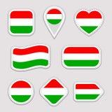匈牙利旗子传染媒介集合 匈牙利语,旗子贴纸汇集 被隔绝的几何象 国家标志徽章 网 皇族释放例证
