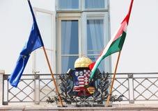 匈牙利旗子和EU旗子 免版税库存图片